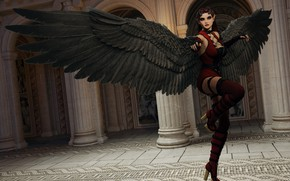 Picture girl, angel, black wings