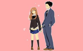 Picture girl, guy, two, pink background, You no Katachi, Form voice