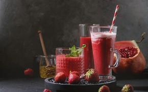 Picture strawberry, juice, fruit, fresh, garnet