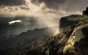 Picture the sky, the sun, rays, light, mountains, clouds, fog, lake, river, stones, open, rocks, vegetation, …