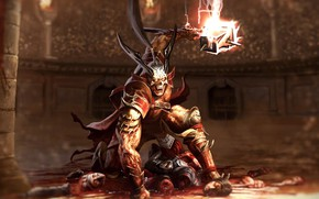 Picture blood, hammer, Colosseum, corpses, the Emperor, hammer, Shao Kahn, Shao Kahn, emperor, Mortal Kombat 11, …