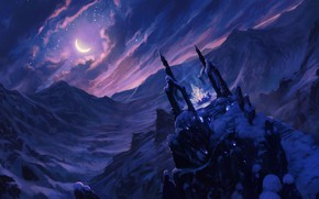 Wallpaper cold, the sky, crystal, clouds, snow, mountains, night, the moon, fantasy, art
