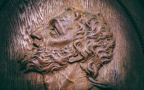 Picture face, Jesus, wood, religion, faith, woodcarving, input range, Saint-Blaise, wooden sculptures, Church door