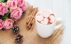 Picture roses, bouquet, Cup, hearts, wood, pink, cup, romantic, hearts, valentine's day, cocoa, roses, hot chocolate, …