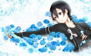 Picture look, anime, art, White background, guy, Sword art online, Sword Art Online, Kirito