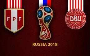 Picture wallpaper, sport, logo, football, FIFA World Cup, Russia 2018, Peru vs Denmark