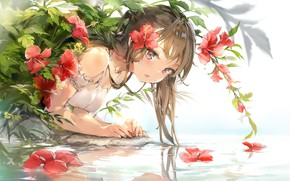 Picture girl, flower in hair, over the water, red flowers, hibiscus, white sundress