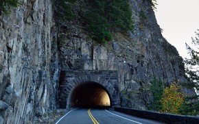 Picture Road, Mountains, Rocks, The tunnel