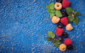 Picture raspberry, berry, mint, blue background