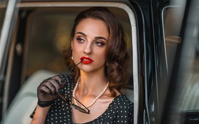 Picture girl, face, retro, hand, makeup, glasses, glove, vintage, Alex Sannikov