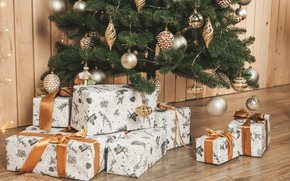 Picture holiday, toys, new year, gifts, tree, ribbons, box
