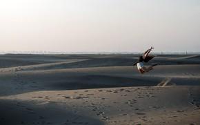 Picture girl, background, desert