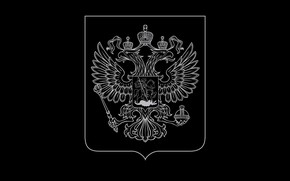 Picture black background, coat of arms, Russia