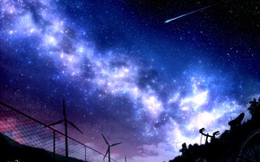 Picture the sky, night, bike, the fence, windmills, the milky way