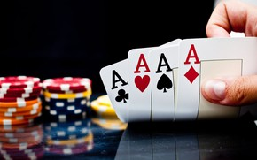 Picture card, casino, 4 aces