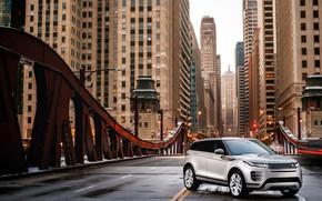Picture auto, bridge, the city, skyscrapers, Land Rover, Evoque, crossover, P300