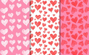 Picture hearts, white, texture, background, pink