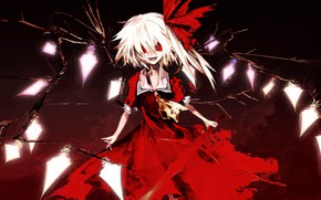 Picture darkness, red eyes, baby, art, vampire, Touhou Project, black magic, Flandre Scarlet, hell of a …