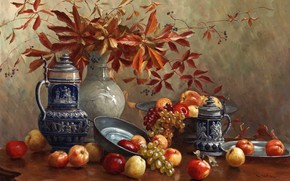 Picture apples, picture, grapes, vase, still life, painting, pitchers, autumn leaves, Camilla Gobl-Wahl