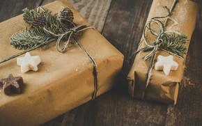Picture winter, holiday, toys, Christmas, New year, needles, box, Christmas decorations, новогодние декорации