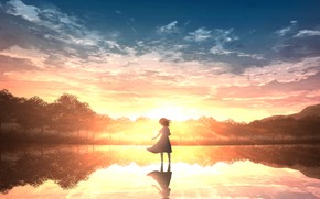 Picture water, sunset, nature, girl