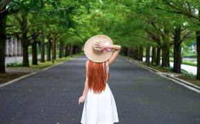 Picture summer, girl, pose, Park, hair, back, hat, dress, red