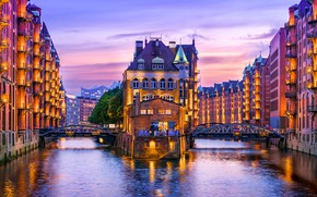 Wallpaper river, home, the evening, Germany, Hamburg, Germany, Hamburg
