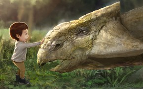 Picture baby, art, children's, My son meet the ankylosaurus., Rugby, Hotduck Yoon