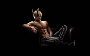 Picture night, mood, anime, mask, art, guy, oldxian