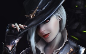 Wallpaper look, girl, face, hair, hat, art, glove, ashe, overwatch, Calamity, Elizabeth Caledonia Ashe
