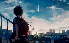 Picture the sky, clouds, the city, comet, ladder, girl