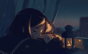 Picture girl, night, sleeping, flashlight