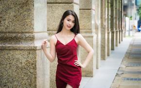 Picture girl, dress, Asian, cutie