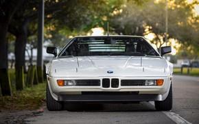 Picture white, BMW, front view, BMW M1, E26, M1