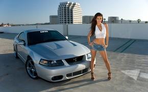 Picture car, girl, sexy, legs, belly, Shelby Cobra, navel piercing, high heel, miniskirt, Mercedes Terrell, girl …