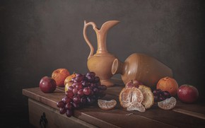 Picture apples, food, grapes, fruit, still life, slices, composition, tangerines, pitchers, ceramics, retro style