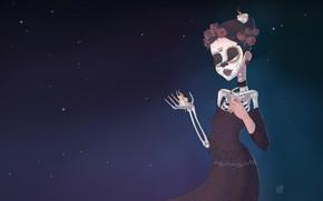 Wallpaper Fantasy, Art, Skeleton, Characters, Candle, Santa Muerte, Holy Death, Santa Muerte, by Sophie Maleval, Sophie ...