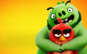 Picture bird, pig, Angry Birds, hugs, The Angry Birds Movie 2