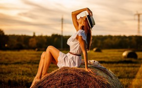 Picture field, summer, girl, pose, mood, hat, dress, hay, Kip, Svetlana Shevtsova, Alexey Petrov