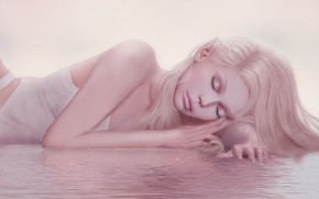Picture water, girl, sleep, blonde