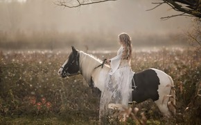 Picture girl, nature, horse