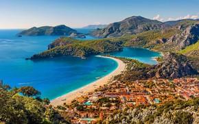 Picture sea, beach, mountains, island, home, Turkey, Fethiye