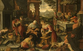 Picture oil, picture, canvas, mythology, Jacopo Bassano, The rich man and Lazarus, 1700, Jacopo Bassano