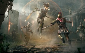Picture soldiers, Assassin's Creed Odyssey, assassin, Medusa, Alexios, Assassins creed, guards, The Gorgon Medusa, Artwork