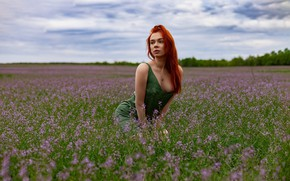 Picture grass, sky, trees, nature, flowers, clouds, model, women, redhead, necklace, green dress, neckline, women outdoors