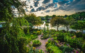 Picture clouds, trees, flowers, pond, stones, home, garden, lantern, the bushes