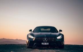 Picture sunset, Mercedes-Benz, the evening, front view, AMG, AU-spec, GT R, 2019