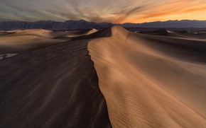 Picture sand, the sky, clouds, line, sunset, mountains, rocks, desert, the evening, dunes, CA, USA, America, ...