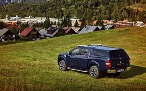 Picture blue, meadow, Renault, pickup, settlement, 4x4, 2017, Alaskan