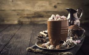Picture mug, drink, hot chocolate, marshmallows, Iryna Melnyk
